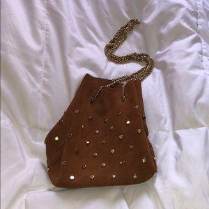 Studded Leather Bucket Purse